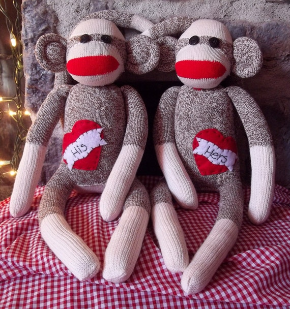 Sock Monkey Doll, His and Hers Valentines Day Set
