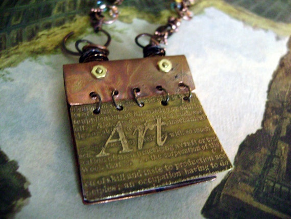 Etched Mixed Metal Art Book Necklace