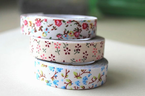 Fabric tape - Printed floral ribbon tape - Set of 3