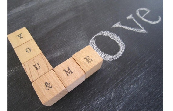 Valentine Personalized Wood Blocks - You & Me - personalized wedding decor letter blocks Valentines Day valentine decorations love