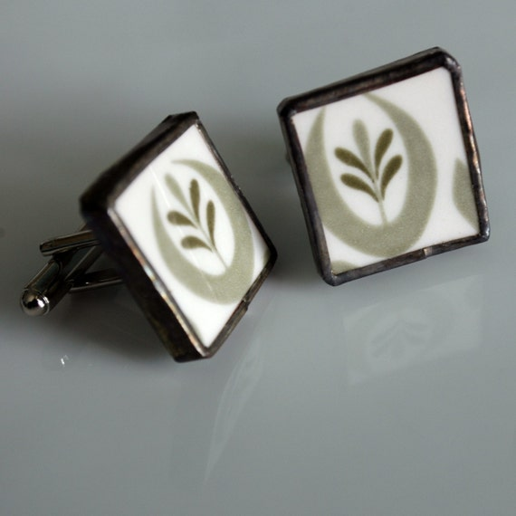 Broken Plate Cuff Links - Green Olive - Recycled China