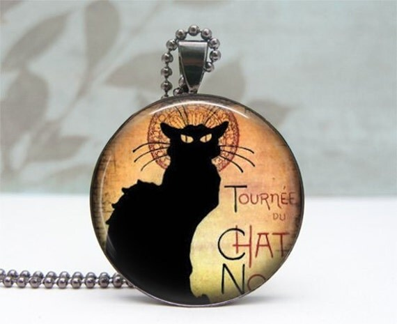 Black Cat Necklace - Glass Dome Pendant - Gunmetal
