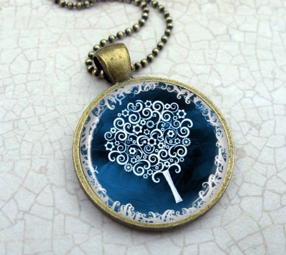 White Tree in Blue Necklace - Glass Dome Pendant Vintage Bronze, Picture Pendant, Photo Pendant, Art Pendant by Lizabettas