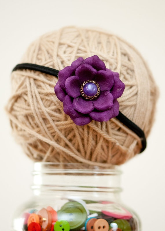 Purple Button and Flower Headband