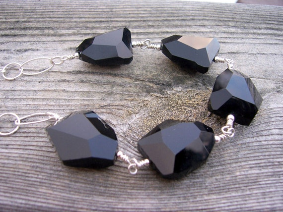 Chunky faceted black crystal sterling silver wire wrapped necklace