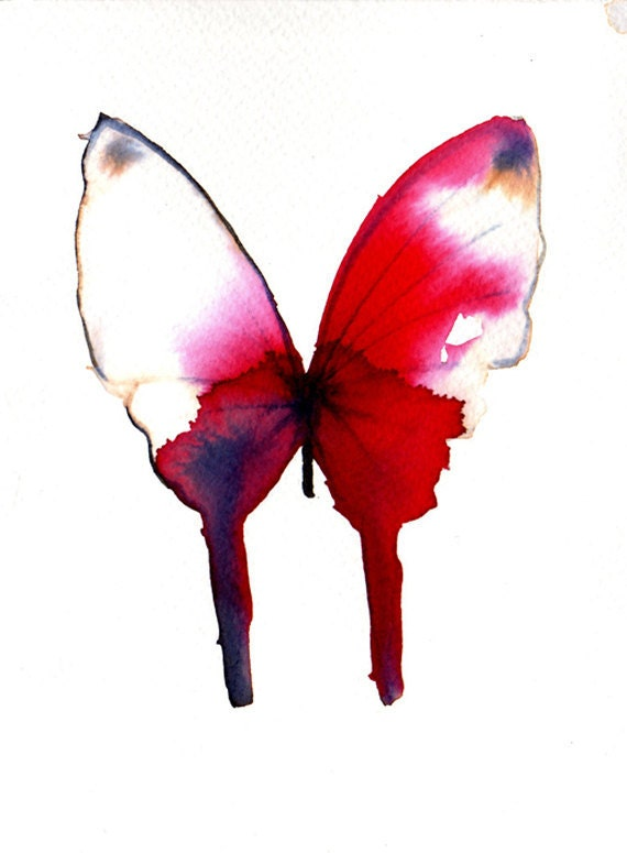 SPRING SALE deep red butterfly with white tipped wings