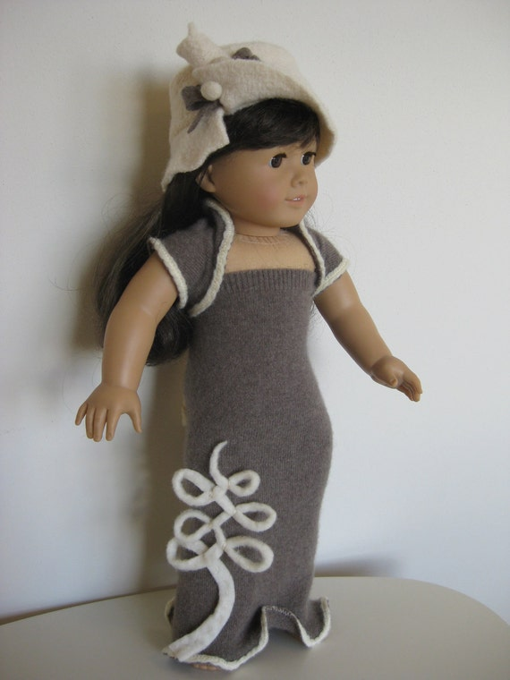"Cashmere dress with shawl and hat for American girl/18"" doll 0025"