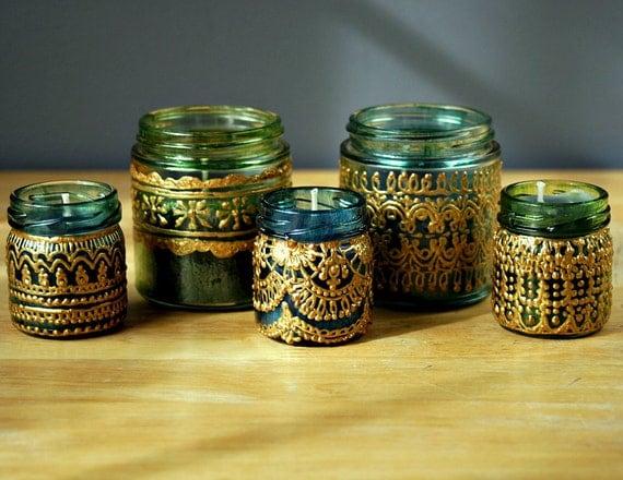 Ручная роспись Жар свечи, бирюзовый с золотом Подробнее