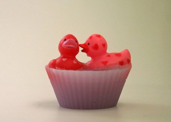 Lovey Dovey Kissing Rubber Duckies Valentines Day Soap Novelty Bathtime Fun Custom Scent Color