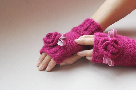 دست زنان کشباف دستکش fingerless - مد ، زمستان ، گل ، کمان ، ظریف ، روبان