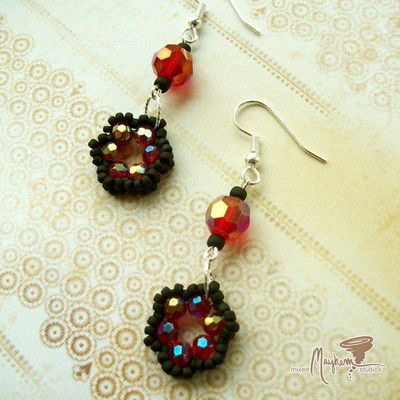 Woven Beaded Flower Earrings with Matte Black Seed Beads and Fire Polished Faceted Red Glass