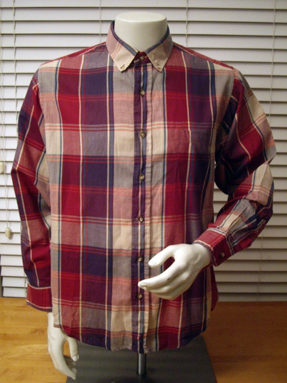 Members Only Flannel Plaid Button-Up Shirt -- Medium/Large -- Light Weight