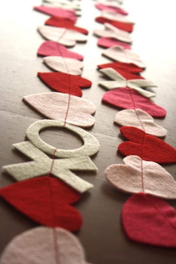 Valentine Day felt garland