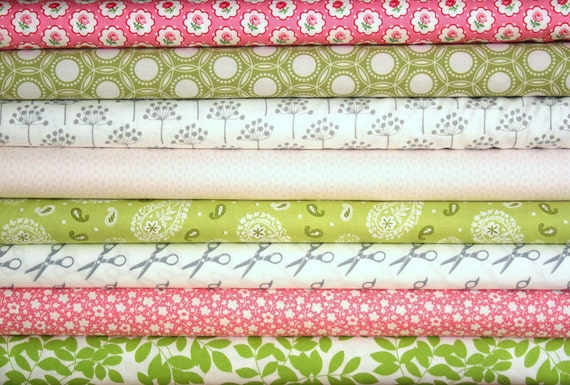 fat-eighth bundle (pink, green and grey)--misc. designers--8 pieces--1 yards total
