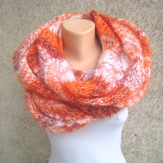 Handknit Lace Scarf/Shawl Extra long Orange/White Mohair Luxurious Light Comfortable Beautiful pattern Handmade by Dimana