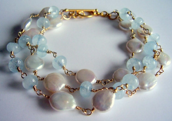 Aquamarine and pearl gold wire wrapped triple strand bracelet