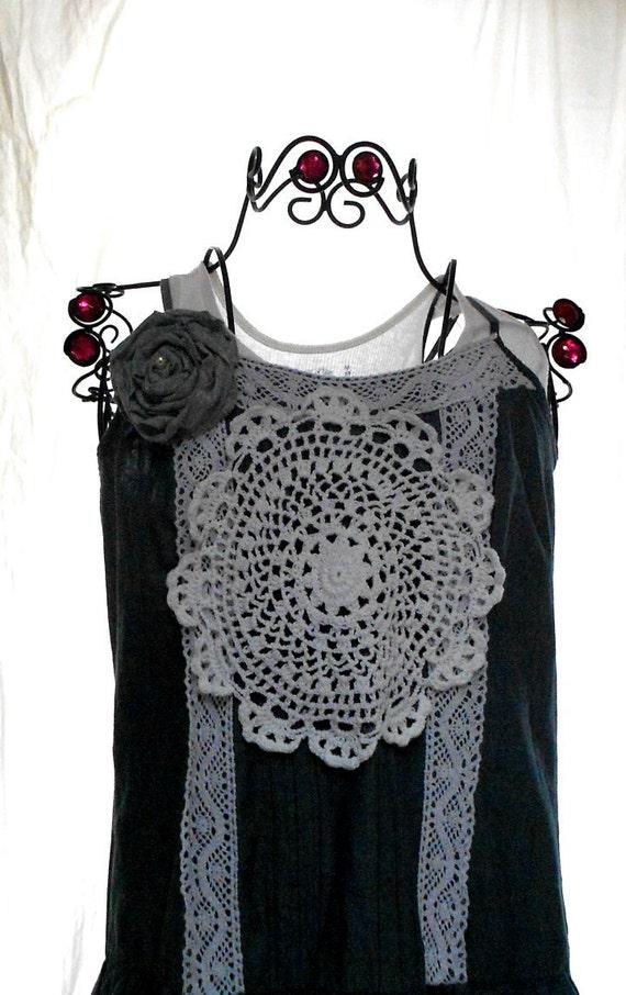 Потертый шик салфетка Платье Anthropologie стиль Серый Дом шикарный фартук платье Женская одежда французских страны Med