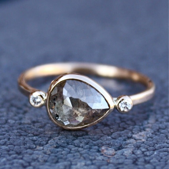 Diamond Engagement Ring - Rose Cut Diamond Slice - 14K Yellow Gold