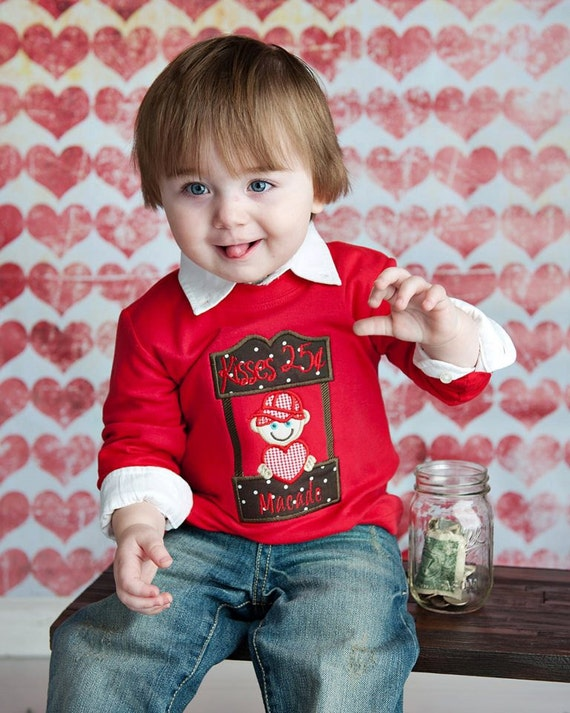 Kissing Booth - a Custom Appliqued and Monogrammed Boy's Valentine shirt
