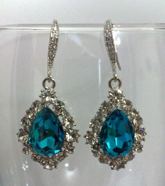 Teal Blue Peacock Inspired Bridal Earrings, Classic Oval Teardrop Swarovski Wedding Jewelry, BIJOUX TEAL