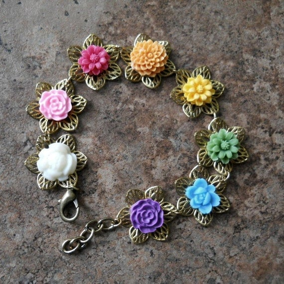 Rainbow Floral Bracelet, Color Wheel Bracelet