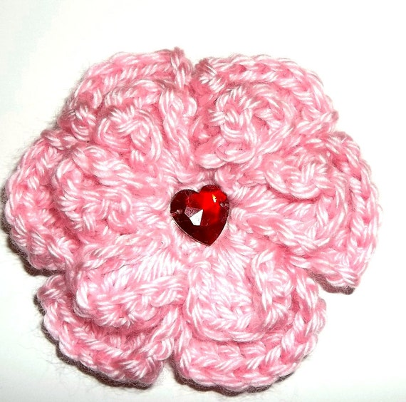 Crocheted Flower Barrette Soft Pink Heart Gem
