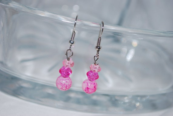 Pink Teardrop Dangle Earrings