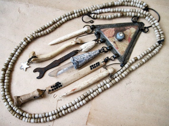 Bedlam. Pale Victorian Tribal Kuchi Assemblage Necklace with Bones.