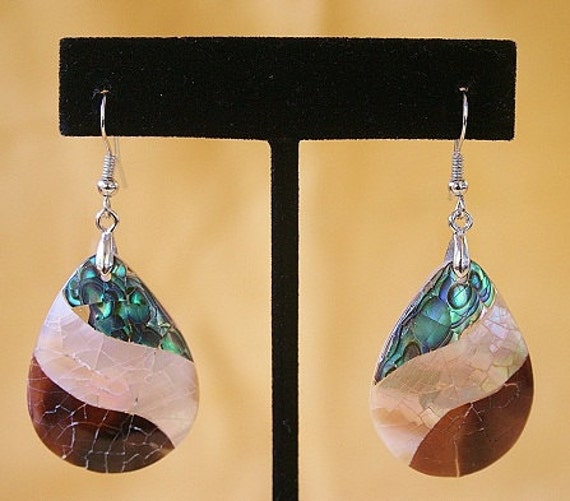 Canyon Stream - Ocean Abalone Earring on Sterling Silver Ear Hooks