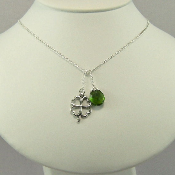 St. Patrick's Day Wedding, Wire wrapped green briolette, Four leaf clover charm, Lariat Necklace