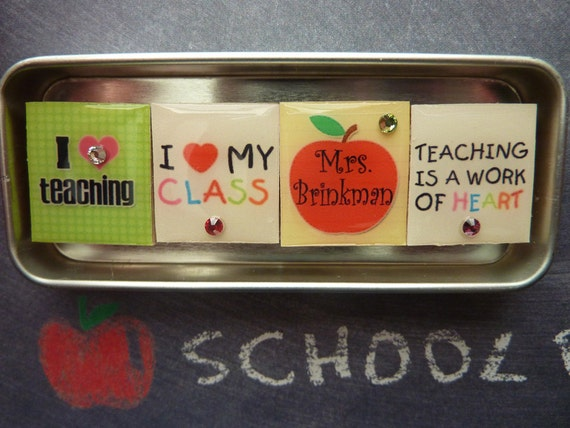 PERSONALIZED Teaching From The Heart Scrabble Tile Magnet Set