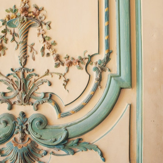 Rococo - Versailles Door, Paris Photograph, Pastel, Shabby Chic, Romantic, Feminine, Baroque, Renaissance, Baby Blue, Spring Home Decor
