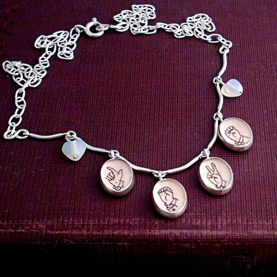 Valentine Necklace Spells LOVE in Sign Language Alphabet Letters