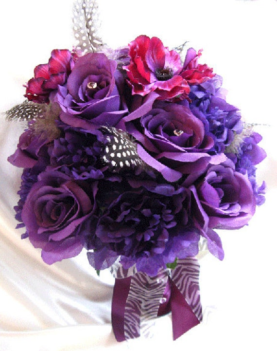 Wedding bouquet Bridal Silk flowers Cream PURPLE PLUM BLACK Feathers 17 pc