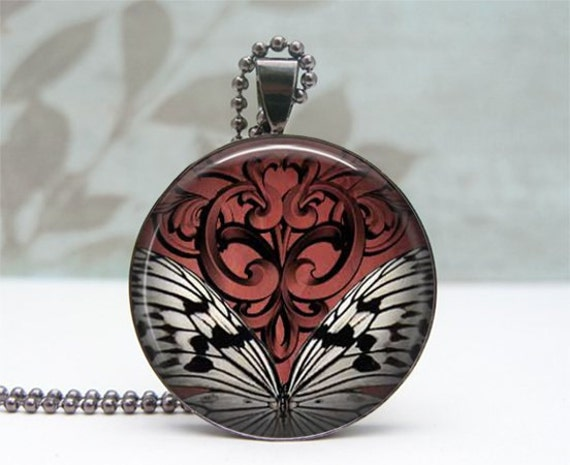 Goth Inspired Butterfly Necklace, Glass Dome Pendant Gunmetal, Picture Pendant, Photo Pendant, Wearable Art Jewelry by Lizabettas