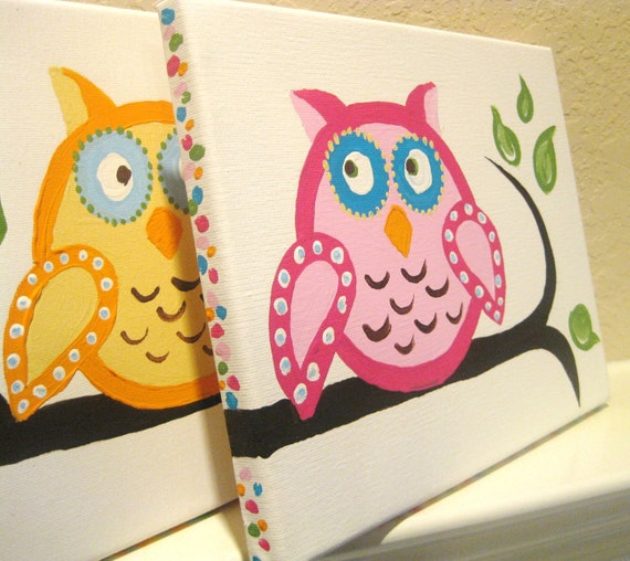 Owls on a limb, (set of 8), Acrylic on Canvas, MADE TO ORDER