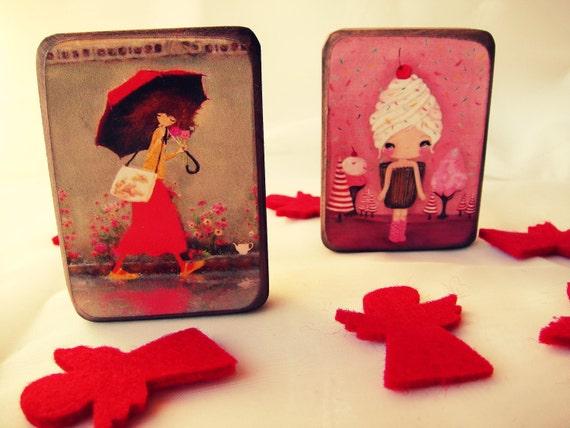 Cherry Girl, магниты на холодильник Комплект из 2 - подарок для нее