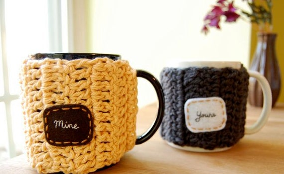 Mine Yours Coffee Mug Cozy Set Crocheted Tea Cup Cosy Anniversary Gift Country Yellow and Grey