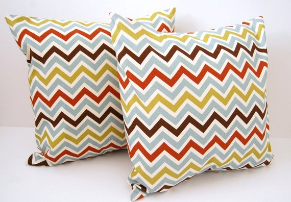 Decorative pillow covers set of two 20 x 20 blue brown chevron