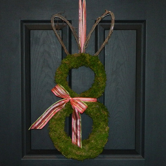 Easter Wreath - Moss Wreath - Bunny Wreath - Pre order will ship on or before March 7