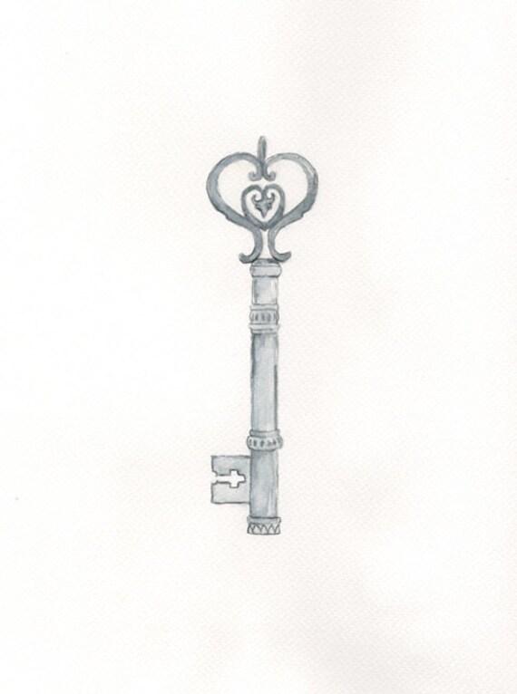 Key of the Kingdom / Watercolor Print /Vintage /Chic/Skeleton Key