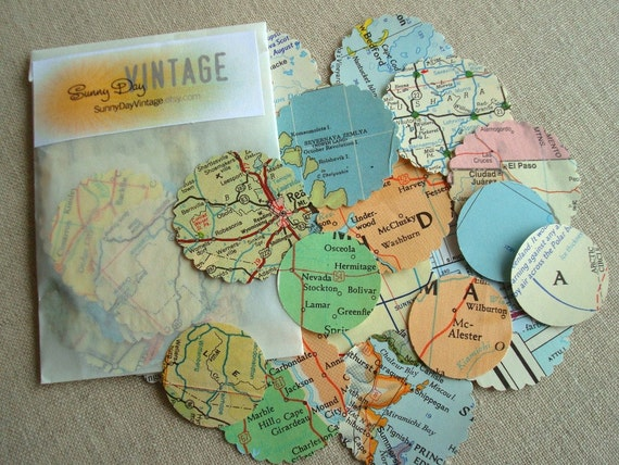 35 vintage map seals, stickers for envelopes & scrapbooks