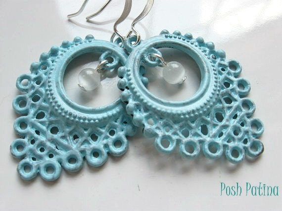 Shabby Chic Beach House Getaway - Rustic Blue Hand Painted Filigree Earrings
