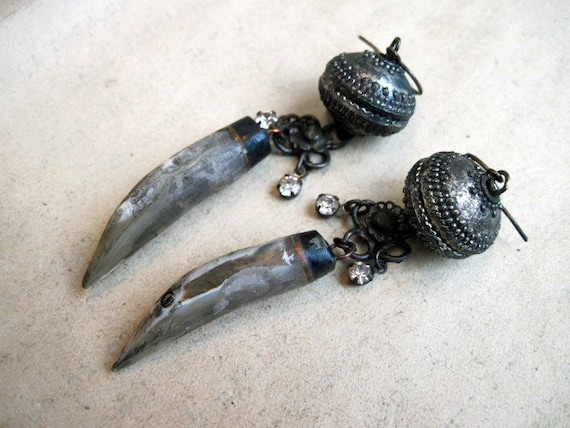 Aos Sí. Rustic Tribal Assemblage Dangles with Fang and Rhinestones.