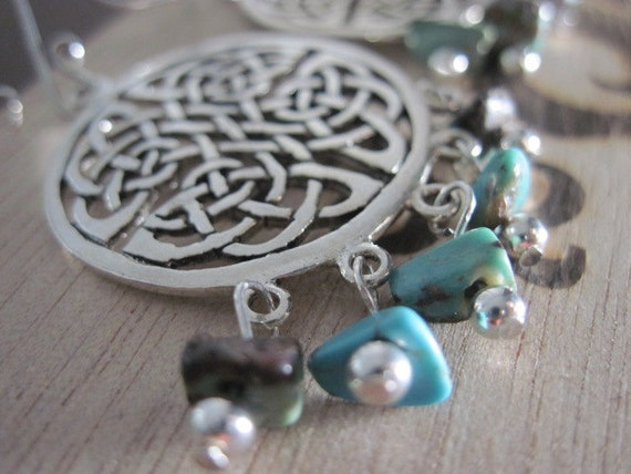 Turquoise Earrings Sterling Silver Celtic Knot Turquoise