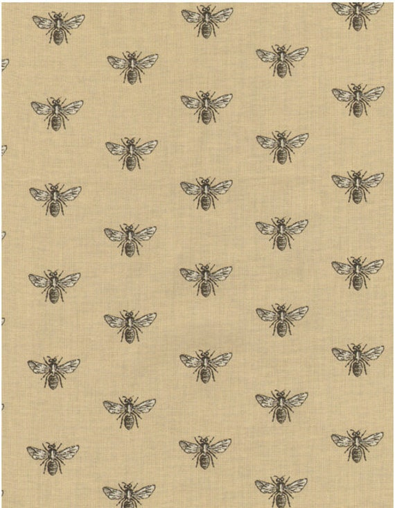 Timeless Treasures French Court Bumble Bee in Beige/Neutral/Taupe