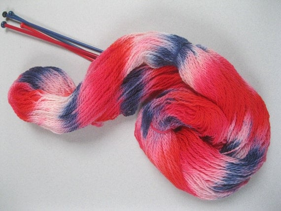 Hand dyed self striping fingering/ 4ply knitting yarn- 'Jubilant' red, white and blue