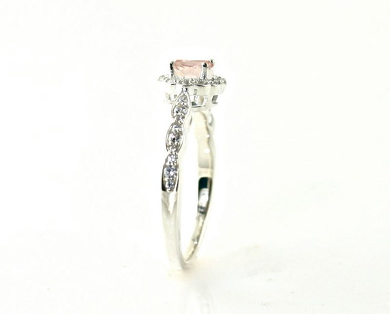 14K Morganite Engagement Ring Morganite Ring Diamond Halo 14K 18K Platinum Palladium Custom Bridal Jewelry