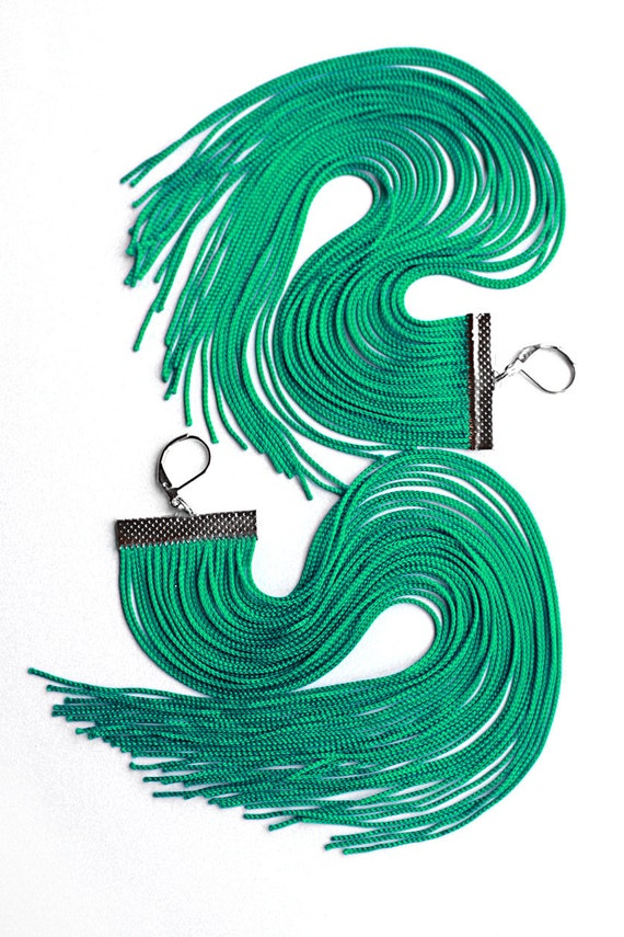 Mint Long Fringe Earrings
