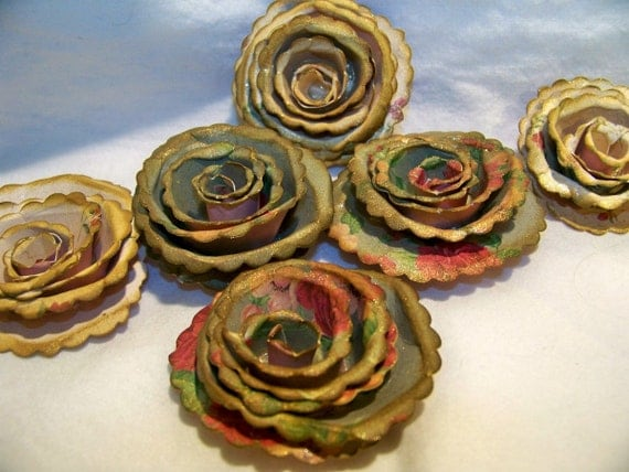 Handmade Vintage Looking Paper Flowers Spiral Scallopped flowers